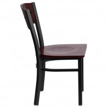 Flash Furniture XU-DG-6Y1B-MAH-MTL-GG HERCULES Series Black Decorative 4 Square Back Metal Restaurant Chair, Mahogany Wood Back and Seat addl-4