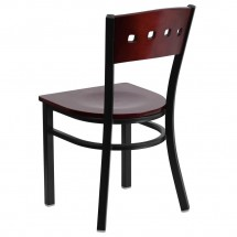 Flash Furniture XU-DG-6Y1B-MAH-MTL-GG HERCULES Series Black Decorative 4 Square Back Metal Restaurant Chair, Mahogany Wood Back and Seat addl-1