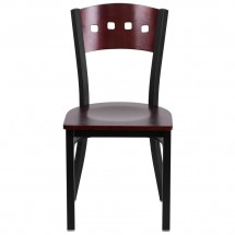 Flash Furniture XU-DG-6Y1B-MAH-MTL-GG HERCULES Series Black Decorative 4 Square Back Metal Restaurant Chair, Mahogany Wood Back and Seat addl-2