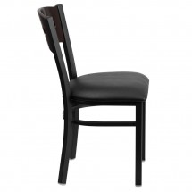 Flash Furniture XU-DG-6Y2B-WAL-BLKV-GG HERCULES Series Black Decorative 3 Circle Back Metal Restaurant Chair, Walnut Wood Back, Black Vinyl Seat addl-4
