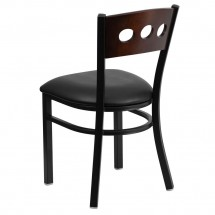 Flash Furniture XU-DG-6Y2B-WAL-BLKV-GG HERCULES Series Black Decorative 3 Circle Back Metal Restaurant Chair, Walnut Wood Back, Black Vinyl Seat addl-1