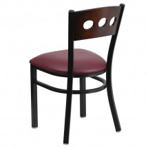 Flash Furniture XU-DG-6Y2B-WAL-BURV-GG HERCULES Series Black Decorative 3 Circle Back Metal Restaurant Chair, Walnut Wood Back, Burgundy Vinyl Seat addl-1