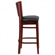 Flash Furniture XU-DG-W0094BAR-MAH-BLKV-GG Lacey Series Solid Back Mahogany Wooden Restaurant Barstool, Black Vinyl Seat addl-3