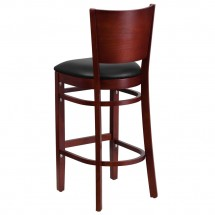 Flash Furniture XU-DG-W0094BAR-MAH-BLKV-GG Lacey Series Solid Back Mahogany Wooden Restaurant Barstool, Black Vinyl Seat addl-4