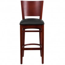 Flash Furniture XU-DG-W0094BAR-MAH-BLKV-GG Lacey Series Solid Back Mahogany Wooden Restaurant Barstool, Black Vinyl Seat addl-1