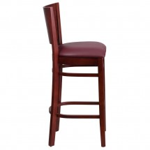 Flash Furniture XU-DG-W0094BAR-MAH-BURV-GG Lacey Series Solid Back Mahogany Wooden Restaurant Barstool, Burgundy Vinyl Seat addl-2