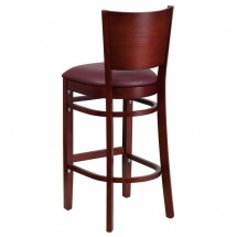 Flash Furniture XU-DG-W0094BAR-MAH-BURV-GG Lacey Series Solid Back Mahogany Wooden Restaurant Barstool, Burgundy Vinyl Seat addl-3