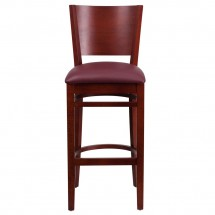 Flash Furniture XU-DG-W0094BAR-MAH-BURV-GG Lacey Series Solid Back Mahogany Wooden Restaurant Barstool, Burgundy Vinyl Seat addl-1