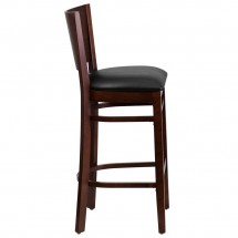 Flash Furniture XU-DG-W0094BAR-WAL-BLKV-GG Lacey Series Solid Back Walnut Wooden Restaurant Barstool. Black Vinyl Seat addl-3