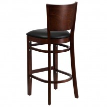 Flash Furniture XU-DG-W0094BAR-WAL-BLKV-GG Lacey Series Solid Back Walnut Wooden Restaurant Barstool. Black Vinyl Seat addl-1