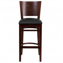 Flash Furniture XU-DG-W0094BAR-WAL-BLKV-GG Lacey Series Solid Back Walnut Wooden Restaurant Barstool. Black Vinyl Seat addl-4