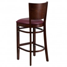 Flash Furniture XU-DG-W0094BAR-WAL-BURV-GG Lacey Series Solid Back Walnut Wooden Restaurant Barstool, Burgundy Vinyl Seat addl-1