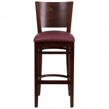 Flash Furniture XU-DG-W0094BAR-WAL-BURV-GG Lacey Series Solid Back Walnut Wooden Restaurant Barstool, Burgundy Vinyl Seat addl-4