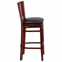 Flash Furniture XU-DG-W0108BBAR-MAH-BLKV-GG Darby Series Slat Back Mahogany Wooden Restaurant Barstool, Black Vinyl Seat addl-2