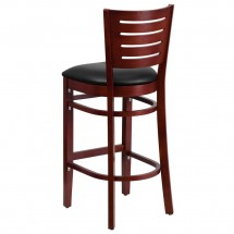 Flash Furniture XU-DG-W0108BBAR-MAH-BLKV-GG Darby Series Slat Back Mahogany Wooden Restaurant Barstool, Black Vinyl Seat addl-1