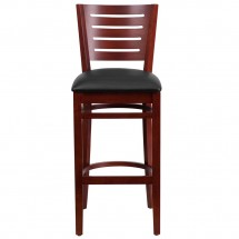 Flash Furniture XU-DG-W0108BBAR-MAH-BLKV-GG Darby Series Slat Back Mahogany Wooden Restaurant Barstool, Black Vinyl Seat addl-3