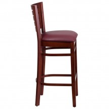 Flash Furniture XU-DG-W0108BBAR-MAH-BURV-GG Flash Furniture Darby Series Slat Back Mahogany Wooden Restaurant Barstool, Burgundy Vinyl Seat addl-2