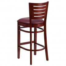 Flash Furniture XU-DG-W0108BBAR-MAH-BURV-GG Flash Furniture Darby Series Slat Back Mahogany Wooden Restaurant Barstool, Burgundy Vinyl Seat addl-1