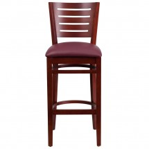 Flash Furniture XU-DG-W0108BBAR-MAH-BURV-GG Flash Furniture Darby Series Slat Back Mahogany Wooden Restaurant Barstool, Burgundy Vinyl Seat addl-3