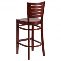 Flash Furniture XU-DG-W0108BBAR-MAH-MAH-GG Flash Furniture Darby Series Slat Back Wooden Mahogany Restaurant Barstool addl-1