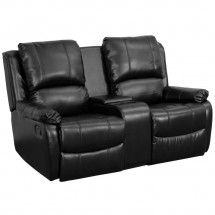 Flash Furniture BT-70295-2-BK-GG Black Leather Home Theater Recliner with Storage Console, 2-Seat addl-1