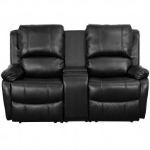 Flash Furniture BT-70295-2-BK-GG Black Leather Home Theater Recliner with Storage Console, 2-Seat addl-2