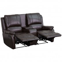 Flash Furniture BT-70295-2-BRN-GG Allure 2-Seat Brown Leather Home Theater Recliner with Cup Holders addl-3