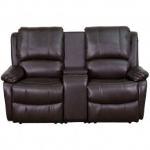 Flash Furniture BT-70295-2-BRN-GG Allure 2-Seat Brown Leather Home Theater Recliner with Cup Holders addl-2
