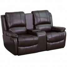 Flash Furniture BT-70295-2-BRN-GG Brown Leather Home Theater Recliner with Storage Console, 2-Seat addl-1
