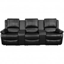 Flash Furniture BT-70295-3-BK-GG Black Leather Home Theater Recliner with Storage Consoles, 3-Seat addl-1