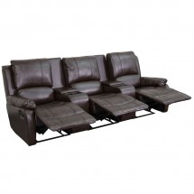 Flash Furniture BT-70295-3-BRN-GG Allure 3-Seat Pillow Back Brown Leather Home Theater Recliner with Cup Holders addl-2