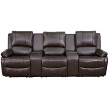 Flash Furniture BT-70295-3-BRN-GG Allure 3-Seat Pillow Back Brown Leather Home Theater Recliner with Cup Holders addl-1