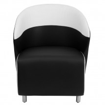 Flash Furniture ZB-7-GG Black Leather Reception Chair with White Detailing addl-2