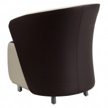Flash Furniture ZB-8-GG Dark Brown Leather Reception Chair with Beige Detailing addl-1