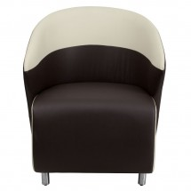 Flash Furniture ZB-8-GG Dark Brown Leather Reception Chair with Beige Detailing addl-2