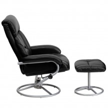 Flash Furniture BT-70230-BK-CIR-GG Contemporary Black Leather Recliner and Ottoman with Metal Base addl-1
