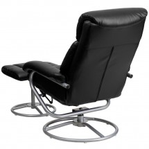 Flash Furniture BT-70230-BK-CIR-GG Contemporary Black Leather Recliner and Ottoman with Metal Base addl-2