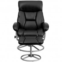 Flash Furniture BT-70230-BK-CIR-GG Contemporary Black Leather Recliner and Ottoman with Metal Base addl-3