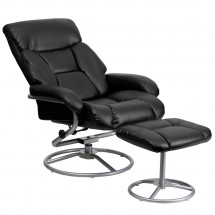 Flash Furniture BT-70230-BK-CIR-GG Contemporary Black Leather Recliner and Ottoman with Metal Base addl-4