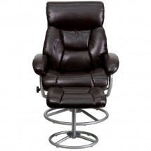 Flash Furniture BT-70230-BRN-CIR-GG Contemporary Brown Leather Recliner and Ottoman with Metal Base addl-3