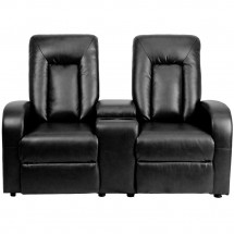 Flash Furniture BT-70259-2-BK-GG Black Leather Home Theater Recliner with Storage Console, 2-Seat addl-2