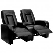 Flash Furniture BT-70259-2-BK-GG Eclipse 2-Seat Black Leather Home Theater Recliner with Cup Holders addl-3