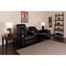 Flash Furniture BT-70259-2-BK-GG Eclipse 2-Seat Black Leather Home Theater Recliner with Cup Holders addl-4