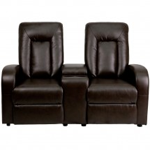 Flash Furniture BT-70259-2-BRN-GG Brown Leather Home Theater Recliner with Storage Console, 2-Seat addl-2