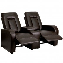 Flash Furniture BT-70259-2-BRN-GG Eclipse 2-Seat Brown Leather Home Theater Recliner with Cup Holders addl-3
