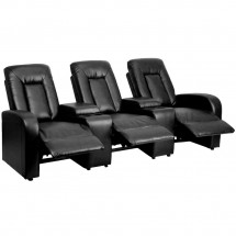 Flash Furniture BT-70259-3-BK-GG Eclipse 3-Seat Black Leather Home Theater Recliner with Storage Consoles addl-3
