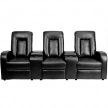 Flash Furniture BT-70259-3-BK-GG Eclipse 3-Seat Black Leather Home Theater Recliner with Storage Consoles addl-1