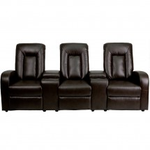 Flash Furniture BT-70259-3-BRN-GG Brown Leather Home Theater Recliner with Storage Consoles, 3-Seat addl-1