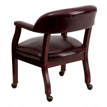 Flash Furniture B-Z100-OXBLOOD-GG Oxblood Vinyl Luxurious Conference Chair with Casters addl-1
