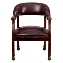 Flash Furniture B-Z100-OXBLOOD-GG Oxblood Vinyl Luxurious Conference Chair with Casters addl-2